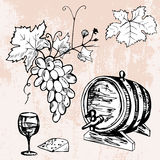 Set of barrel of wine, grape, wineglass and cheese Stock Photography