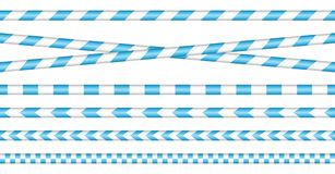 Set Of Barrier Tapes Blue And White stock illustration