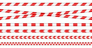 Set Of Barrier Tapes Red/White stock illustration