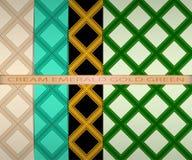 Set barwiący kwadrata wzór śmietanka, szmaragd, złoto, zieleń Obrazy Stock