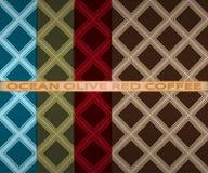 Set barwiący kwadrata wzór Ocean, oliwka, czerwień, kawa Fotografia Stock