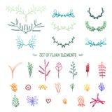 Set barwiący roślina elementy gradient gałązki Ilustracja Wektor