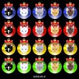 Set barwić Bożenarodzeniowe piłki z kotem stawia czoło ilustracja wektor