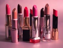 Set barwić pomadki na różowym tle Obrazy Royalty Free
