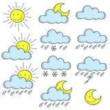 Set barwiona ikony pogoda doodle Obraz Royalty Free