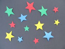 Set barwione gwiazdy na czarnym tle Fotografia Royalty Free