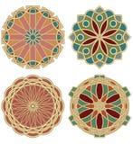 Set barwione gwiazdy w projekcie art deco witraż w złotym materiale Obrazy Royalty Free