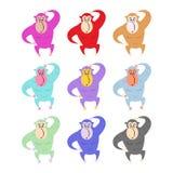 Set barwione małpy Śmieszny goryl Śliczny prymat różny Obraz Royalty Free
