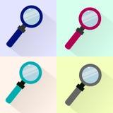 Set barwione magnifier ikony Zdjęcia Royalty Free