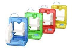 Set barwione nowożytne 3D drukarki, 3D rendering Zdjęcie Stock