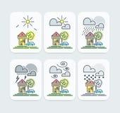 Set Barwione prognoz pogody ikony Obrazy Stock