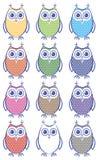 Set barwione sowy Zdjęcie Royalty Free