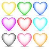 Set Barwioni 3d serca odizolowywający na białym tle dla Twój projekta, gra, karta również zwrócić corel ilustracji wektora royalty ilustracja