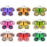 Set barwioni dekoracyjni motyle Zdjęcia Royalty Free