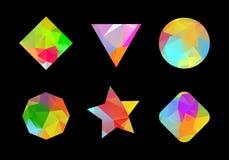 Set barwioni geometryczni poligonalni kształty. Obraz Stock