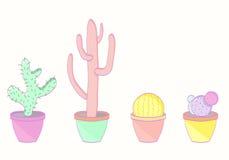 Set barwioni kaktusy Obraz Royalty Free