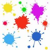 Set barwioni kleksy na bielu Obraz Royalty Free