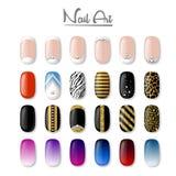 Set barwioni malujący gwoździe manicure zrób sobie paznokcia polskich produktów na białym wektorowym tle Zdjęcia Stock