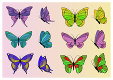 Set barwioni motyle Zdjęcie Royalty Free