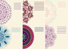 Set barwioni ornamenty mandala Doily koronka, okręgu tło ilustracji