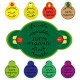 Set barwioni szablony z tekstem - organicznie owoc i warzywo biały tło ilustracji
