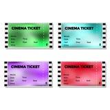 Set barwiony rozmyty kinowy bilet royalty ilustracja