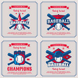 Set baseball badge, logo, emblem tournament in vintage retro sty Stock Image