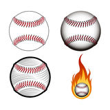 Set of baseball balls. On a white background, Vector illustration Stock Images