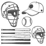 Set of baseball cap ball bat helmet monochrome style for emblems ,logo and labels. Stock Images