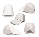 Set baseball caps from different angles. On white background Stock Image