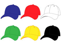 Set of Baseball Caps in Different Colours Stock Photo