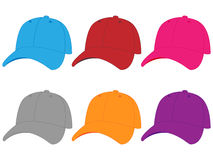 Set of Baseball Caps in Different Colours Royalty Free Stock Photos