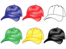 Set of Baseball Caps in Different Colours Pencil Style 2 Stock Photo