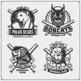 Set of baseball emblems, badges, logos and labels with pitbull, owl, bobcat and polar bear. Print design for t-shirt. Vector royalty free illustration