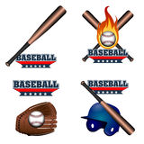Set of baseball emblems. With different objects, Vector illustration Stock Photography