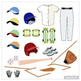 Set of Baseball Equipment on White Background. Illustration Collection of Baseball Accessory and Equipment, Bat, Ball, Knee Protectors, Shoes, Glove, Cap and Royalty Free Stock Image