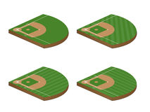Set of Baseball Fields 3D Perspective 2 Royalty Free Stock Image