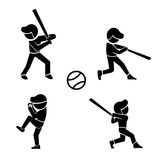 Set of baseball icons in silhouette style, vector Stock Images