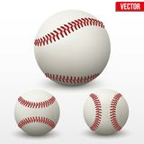 Set of baseball leather ball. Various sides. Vecto Stock Photo