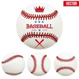 Set of baseball leather balls Stock Photos