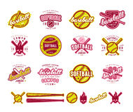 Set of baseball and softball badges. Graphic design for t-shirt and stickers. Color print on white background royalty free illustration