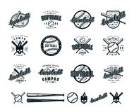 Set of baseball and softball badges. Graphic design for t-shirt. Black print on white background vector illustration