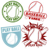 Set of baseball stamps Royalty Free Stock Images