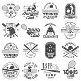 Set of baseball and tennis club badge. Vector illustration. Concept for shirt or logo, print, stamp or tee. stock illustration
