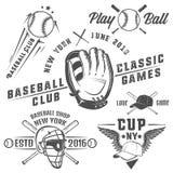 Set baseballa logo i emblematy Zdjęcie Royalty Free