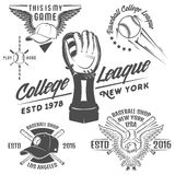 Set baseballa logo i emblematy Fotografia Royalty Free