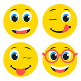 Set of basic boy emoticons in flat design Royalty Free Stock Photo