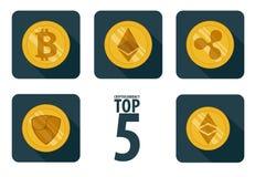 Set of 5 basic cryptocurrency. Icon flat Royalty Free Stock Photo