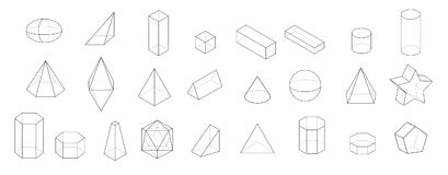 Set of Basic 3d geometric shapes. Geometric solids vector   on a white background. Stock Photo