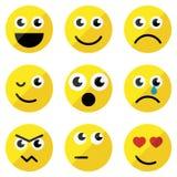 Set of basic emoticons. In flat design Stock Photos